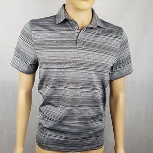 Alfani Gray Striped Short Sleeve Polo Shirt Size S